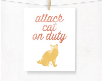 Cat Typography Print, Attack Cat on Duty, Watercolor Pink and Mustard Yellow, Minimal Cat Decor, Cat Art, Cat Lover, Whimsical Cat Gift