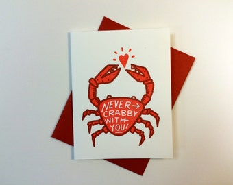 Never Crabby With You letterpress card