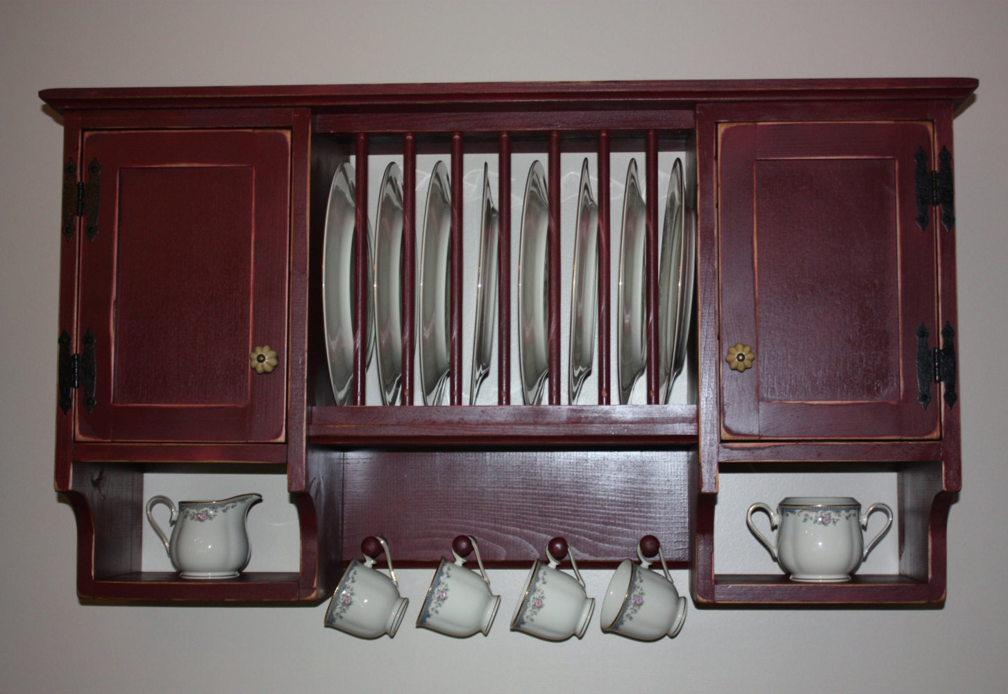 Cupboard China Plate Rack Country Primitive By