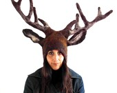Stag Deer Antler Headdress wool felted woodland animal costume for theatre, Burning man, larp, cosplay, pagan, fancy dress & stag party hat