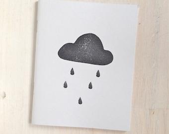 Medium Notebook: Rain Cloud, Light Blue, Portland, Stocking Stuffer, Wedding, Journal, Blank, Unlined, Unique, Gift, Notebook, YYY10/11x5