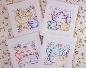 Embroidered Set of Teapots and Teacups Kitchen Towels in Rich Vibrant Colors