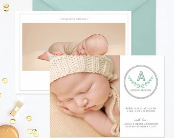 SALE Birth Announcement Template, Birth Announcement Template Boy, Photography Templates, Birth Announcement Card for Photoshop 5x7 - BA176
