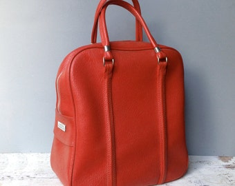 Cherry Red Amelia Earhart Pleather Luggage Weekend Bag Tote Bowling Zipper Suitcase Medium Size Sleek Simple Classic Faux Leather