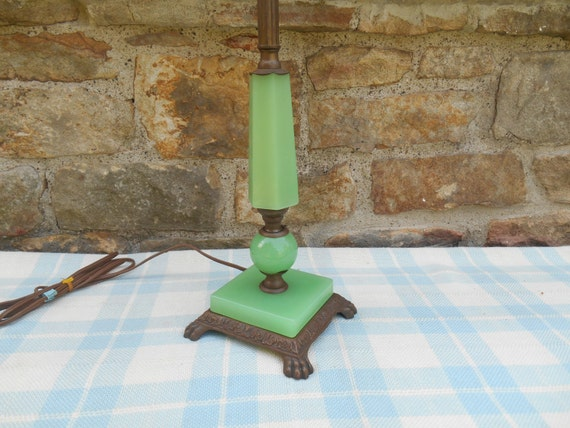 Antique Jadite Green Glass Lamp Table Lamp Art Deco Cast Metal