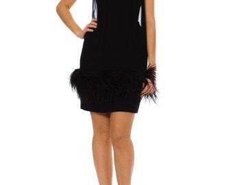 1960s Vintage Marabou Feather Little Black Dress     Size: XS