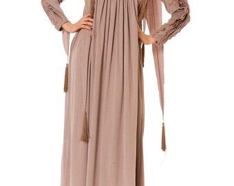 1980s Vintage Ruffled Pleated Mauve Robe/Dress  Size: M/L