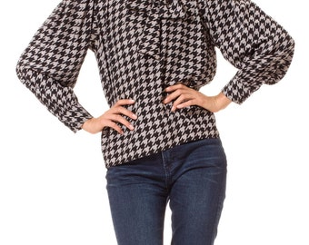 1970s Vintage Houndstooth YSL Blouse  Size: S/M