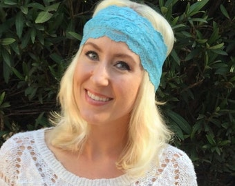 Stretch Lace Headband Aqua Strech Lace headband headwrap bandanna Hair Tie
