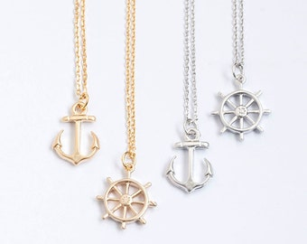 Tiny Nautical Charm Necklace, Anchor / Ship Wheel Helm / Gold / Silver, Whimsical Jewelries, lj ej