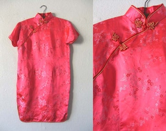 vintage Cheongsam Dress - Shimmery Pinkish Red Asian Style Embroidered Floral Dress - Womens size M / L