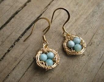 14k Gold Bird Nest Earrings with Speckled Turquoise Eggs, Robins Eggs Earrings in Gold with 14k Gold Earrings