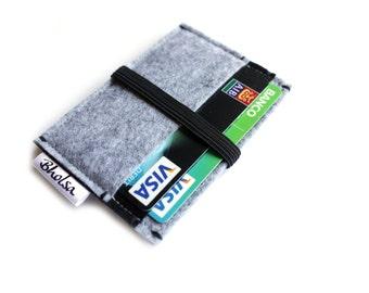 Little Wallet, Card Organizer, Card Wallet, Felt Wallet, Small Wallet, Coin wallet- Light Grey & Black Color felt