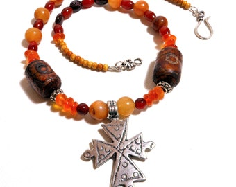 Rustic Ancient Cross Necklace/Antique Style/Tribal Style