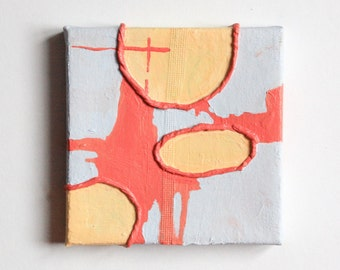 "Original Art: 5x5"" Mixed Media Art--Tiny Painting-- ""A Happier Place"""