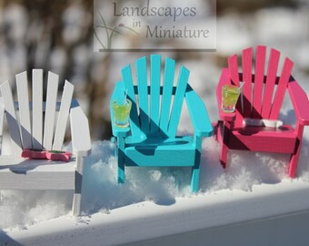ONE Miniature Classic or Flat Back Style Adirondack Chair - SINGLE Chair ONLY - by Landscapes In Miniature