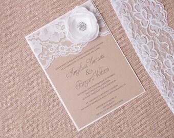 EMILY: Kraft and Lace Wedding Invitation, Unique Burlap Flower Wedding Invitation, Ivory Shower Invitation, Country Chic Wedding Invitation