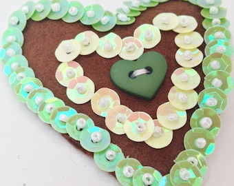 Brown Felt heart brooch with green & yellow sequins, button, hand stitched accessory