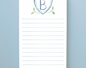 Monogram Crest Notepad - 100 Sheets, Custom Monogrammed Notepad, List Pad, Family Crest Notepad, Watercolor Monogram List Pad, Monogram Gift