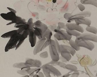Japanese Fine Art Painting Peony Flower Hanging Scroll Kakejiku – 1407082