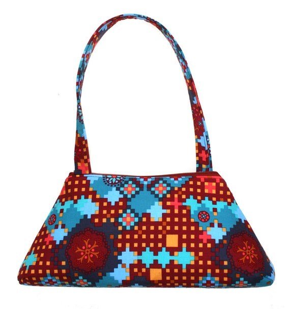 SALE! patchwork, pixel design, SMALL Retro Tote