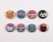 Eight cat badges - Cat badges - Cat pins - eight cat pins - I like cats - cats - cat gifts - cat buttons - Cat accessories - cat lady
