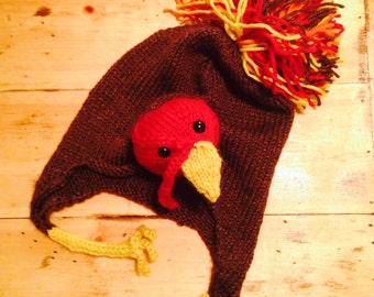 Tom Turkey Earflap Hat - Funny Thanksgiving or Fall Themed Hat - Knitting Pattern Only