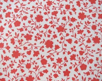 Vintage Sheet Fabric Fat Quarter - Red Silhouette Floral