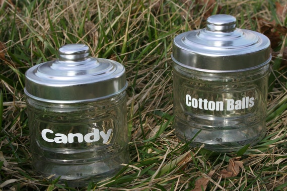 SALE Candy Cotton Balls Glass Containers Bathroom By