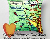Valentines Gift, Custom Map Pillow Cover, Valentines Gift for Him, Met, Married, Honeymoon,  Valentines Gifts for Her Decorative Pillow Gift