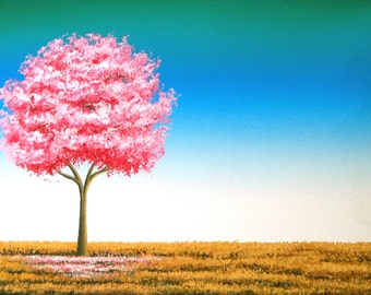 Giclee Print of Pink Cherry Blossom Tree Painting, Modern Art Print of Pink Tree Artwork, Spring Tree Landscape, Nature Art, 5x7, 11x14