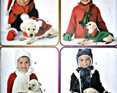 Children's Christmas and Holiday Hats Scarves, Mitts and Dog Coat Sewing Pattern Simplicity 3973 Elaine Heigl Designs