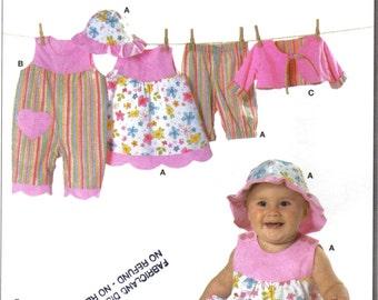 Baby Girl Scalloped Hem Dress, Romper, Pants, Bolero Jacket and Sunhat Sewing Pattern Burda 9712