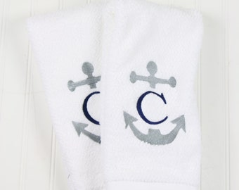 Personalized Initial Hand Towels with Anchor, Perfect Monogrammed Gift