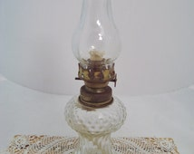 Vintage Pedestal Glass Hurricane Oil Lamp