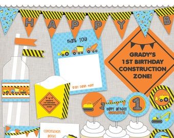 Birthday Construction Zone Printable PDF files - a DIY Party...just print, cut, and decorate