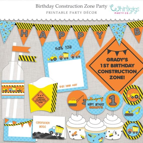 Birthday Construction Zone Printable PDF Files