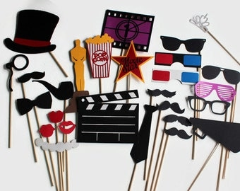 Movie Photobooth Props - 27 Pc Hollywood Party Photo Booth Glamour Collection Set