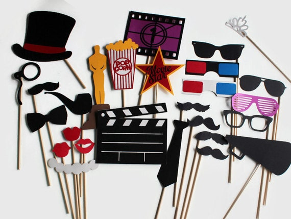 Movie Photobooth Props 27 Pc Hollywood Party Photo Booth