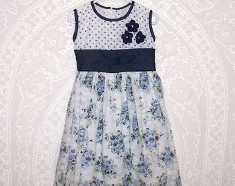 Size 5T - Vintage Toddler Dress - from R. Beauty - Navy Blue and White - Floral