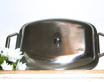 Vintage Danish Stainless Covered Casserole Rolled Wire Handles, MG Denmark Retro Danish Modern Serving Dish
