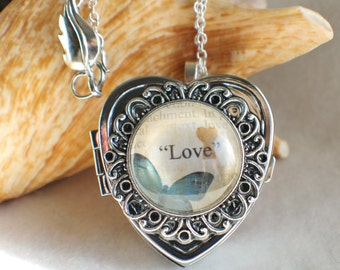 Music box locket, heart shaped locket with music box inside, in silver with Love and Butterfly Cabochon