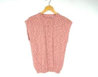 Vintage Sweater Vest Medium 80's Sweater 70's Sweater Slouchy Sweater Sleeveless Sweater Pink Peach Knit Sweater Vest Preppy Sweater Vest G2