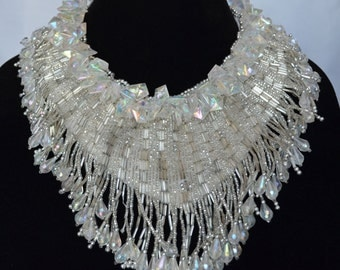 Magnificient Handmade Vintage Collar of Clear Plastic Crystals and Beads on White Satin