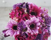 Silk bridal bouquet purple roses, purple, pink hydrangeas, purple, pink, gerbera daisies