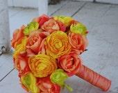 SALE, Silk bridal bouquet orange roses,  yellow ranunculus