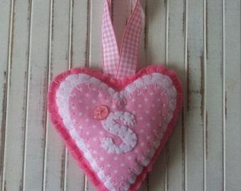 SALE ~ Personalised Gift ~ Handmade Pink Felt Heart ~ Initials C,K,S & T