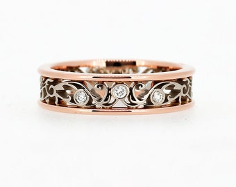 15% SALE size 9, wide rose and white gold wedding band, Diamond ring, rose gold, men filigree, wedding band, unique, men, two tone band