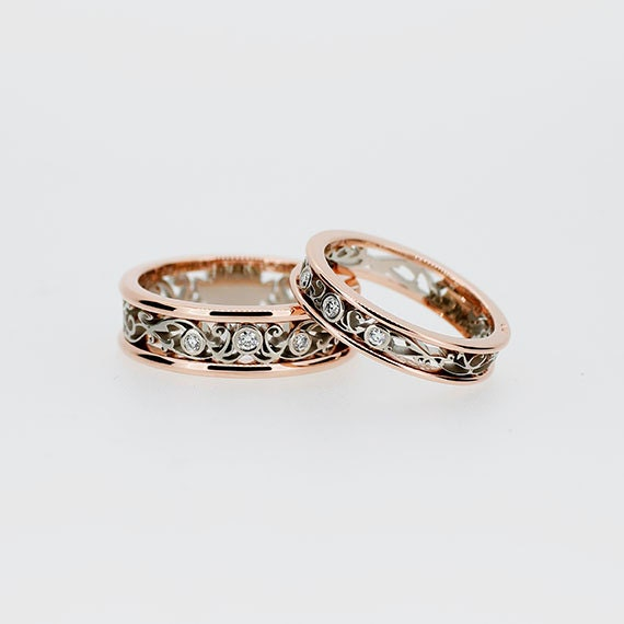 Two tone filigree wedding band set diamond by TorkkeliJewellery