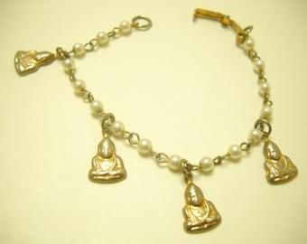Vintage Faux Pearl & Buddha Charm Bracelet (4771)